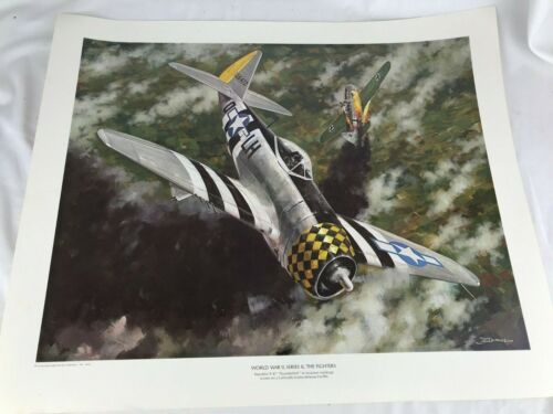 "1970 ""The Fighters"" WWII Airplane JB Deneen Print Republic P-47 Thunderbolt WW2"