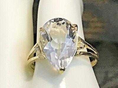 10K YELLOW GOLD 4.0 CARAT NATURAL WHITE TOPAZ & DIAMOND RING+RING BOX  SIZE 6.75 ()