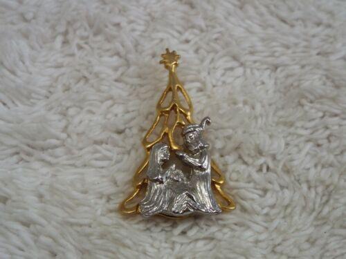 Silvertone Goldtone Christmas Tree Manger Tac Pin (C3)
