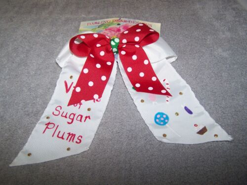 NEW  Girls Christmas Barrette Hair Hand Painted Bow *Visions Of Sugar Plums*