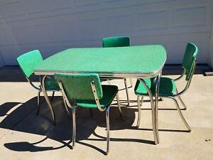 Vintage 1950s Chrome Formica Table Set