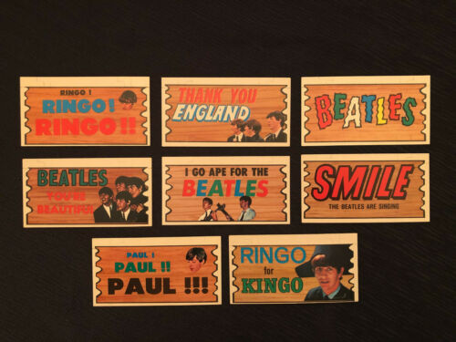 SUPER SCARCE 1964 BEATLES TOPPS PLAKS CARDS – LOT OF 8 IN EXCELLENT CONDITION!