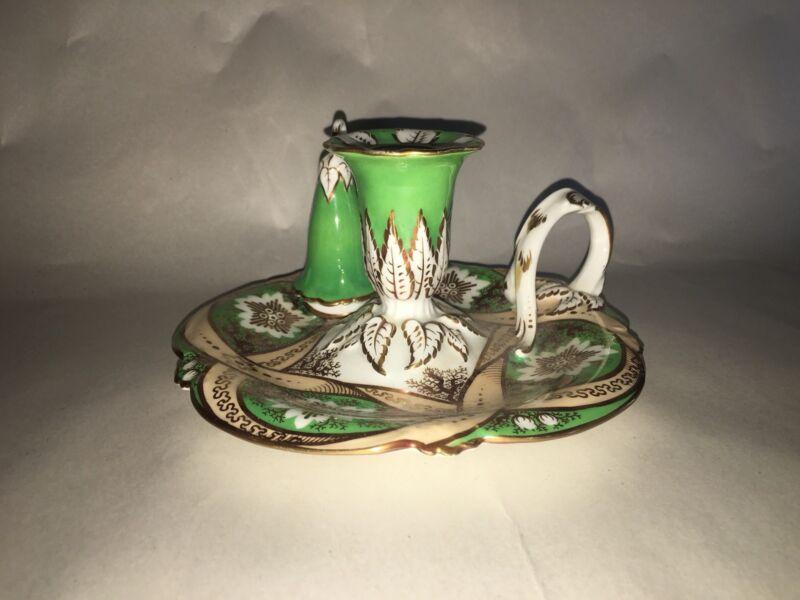 Antique Porcelain Candle Holder Finger Lamp With Snuffer Gilt