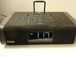 iHome Model iDL45 Black iPhone Dual Charging Stereo FM Alarm Clock w/USB & Dock