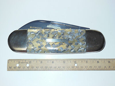 "Bulldog Giant 8.5"" Display Sunfish Knife Crystal Synthetic/Bluegill Etch 1 of 10"