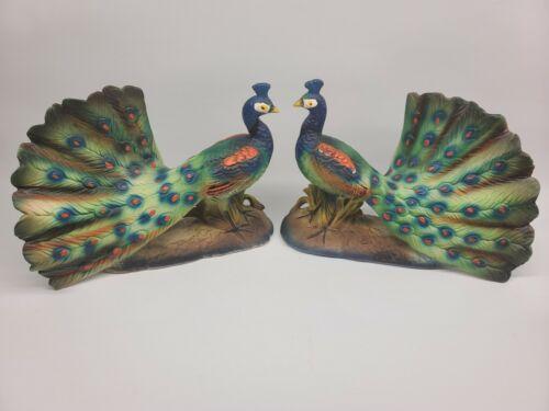 "Vintage Peacock Figurine Matching Pair Vibrant Colors Japan 9"""