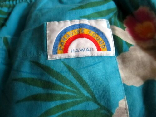 BOYS GIRLS sz 12-14 True Vtg 80s FLORAL PRINT HAWAII BOAD DECK Surfer Shorts
