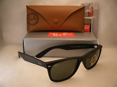 Ray Ban New Wayfarer Matte Black w Green Crystal (G-15) Lens (RB2132 622 (Ray Ban New Wayfarer 622)