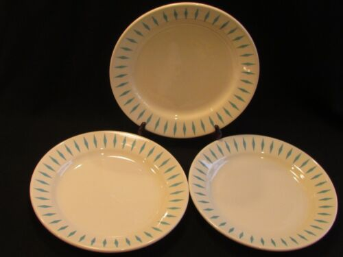 "3 Vintage HOMER LAUGHLIN Salad/Luncheon Plates 9"" TURQUOISE DIAMOND HLC752"