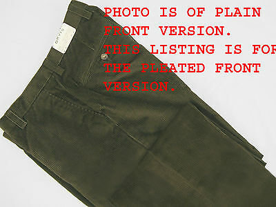 NEW! $179 Orvis Stretch Super Cords Pants!  32 x 31  *Pleated Front*  *Olive* (Orvis Stretch Cord)