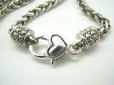 WIDE & FLASHY Silver Tone WHEAT/SPIGA CHAIN NECKLACE Heart Padlock CHOKER [B for sale  West Monroe
