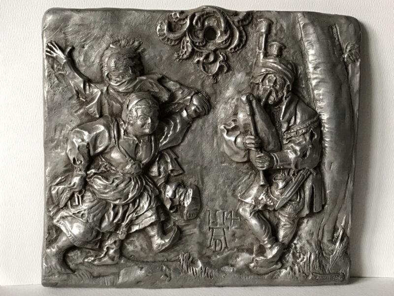 """The Bagpiper"" Albrecht Durer Sculpture (After) Plaque Signed Illegible Pewter"