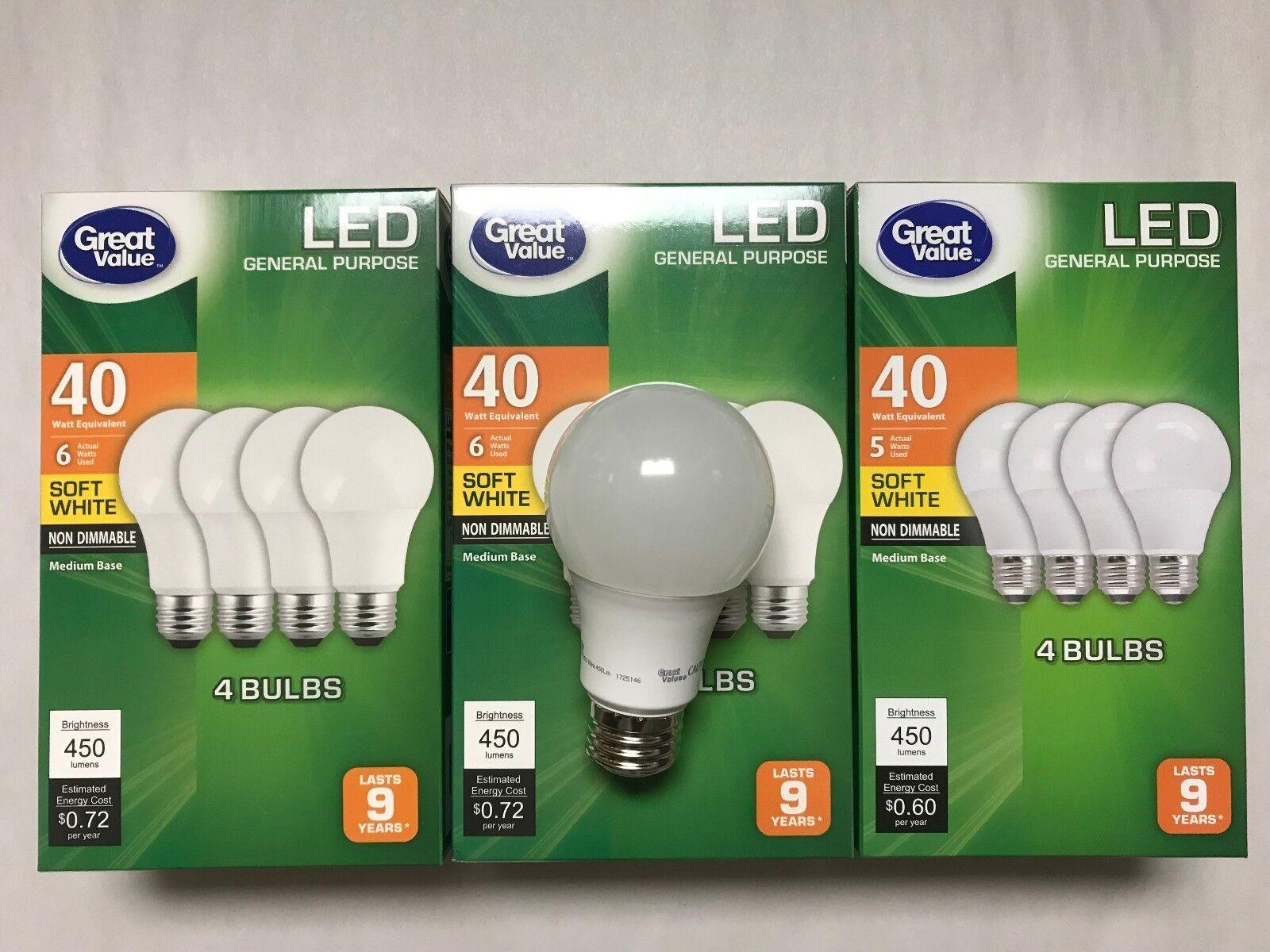 12 Pack LED 40W = 6W Soft White 40 Watt Equivalent A19 2700K