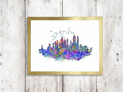 new york print  skyline glossy  poster a4 paint splatter picture unframed