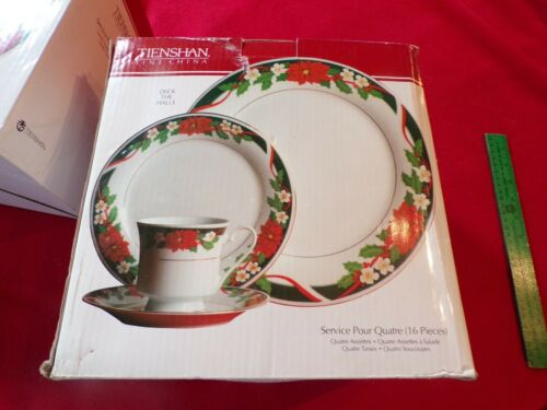 Deck The Halls Tienshan Fine China 16 Piece Christmas Dinner Set NIB