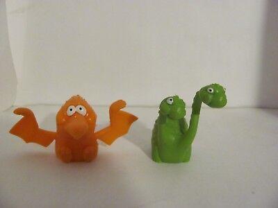 Fingerpuppen 2 Dinosaurier, Wackelfiguren weich Gummi Russ 70er