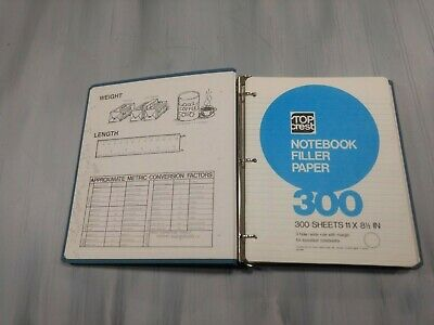 Vintage Prudential Feldco Blue Canvas Cloth 3-ring Binder W300 Notebook Paper