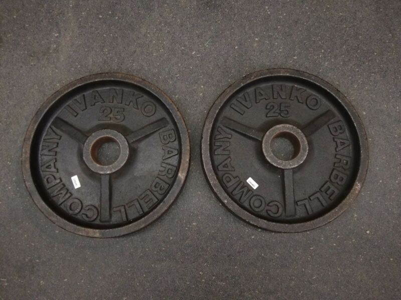 Ivanko Barbell 25 lb Olympic Weight Plates Vintage