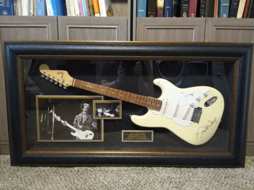 JIMI HENDRIX GUITAR DISPLAY CASE FENDER SQUIRE WITH AUTOGRAPHS