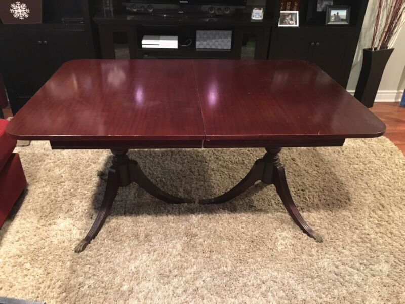 Antique dining table, six chairs and hutch   Dining Tables ...