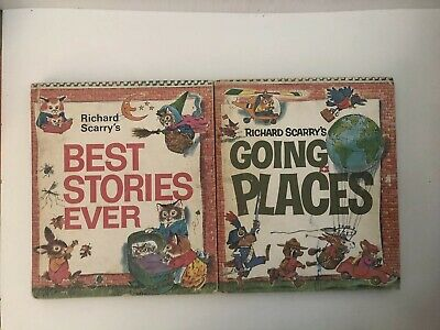 Richard Scarry's Look & Learn Vintage Books Going Places & Best Stories