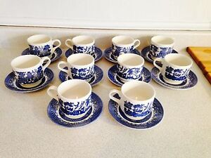 8 Blue Willow Cups and Saucers