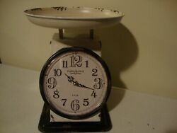 Farmhouse new large Tabletop Scale CLOCK in distressed Tin