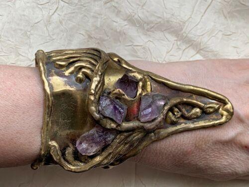 Heavy Vintage Designer signed bracelet - Amethyst stones 10.5cm width