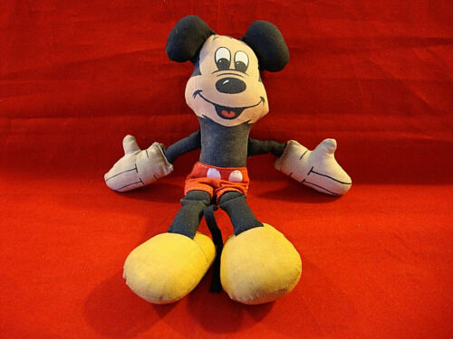 """Vintage Cotton Cloth Stuffed Mickey Mouse Doll with Red Shorts-8"""" Tall"""