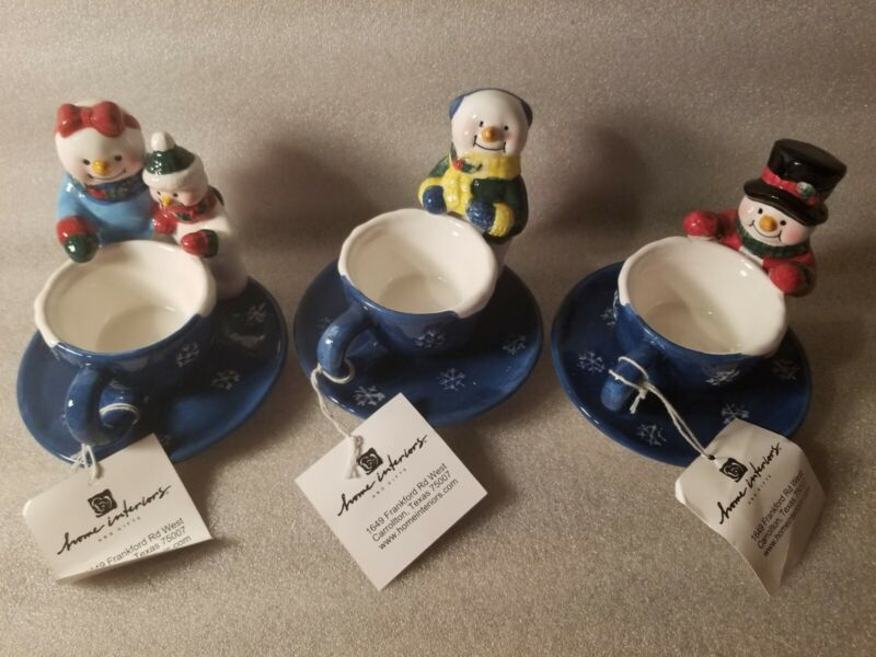 Home Interiors/ HOMCO Christmas Snowman Candle Holders Set of 3 New in Box