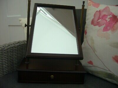 Antique vintage mahogany wood dressing table mirror with drawer