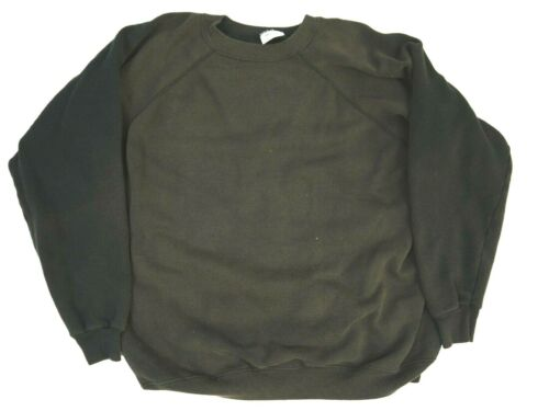Thrashed Vintage 90s Sweatshirt Sun Faded Raglan Black Distressed Blank Mens 2XL