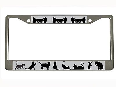 (cat Metal Auto License Plate Frame Car Tag Holder)