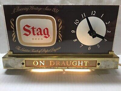 VINTAGE STAG BEER ON DRAUGHT ROG LIGHTED CASH REGISTER CLOCK, WORKS, GC
