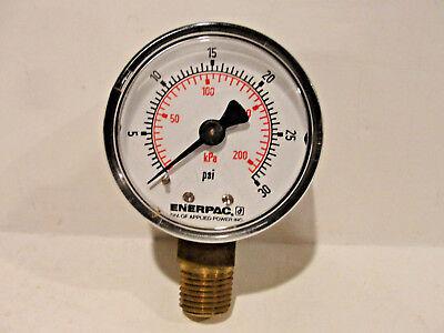 Enerpac Pressure Gauge Dual 0-30 Psi 0-200 Kpa Bottom Mount