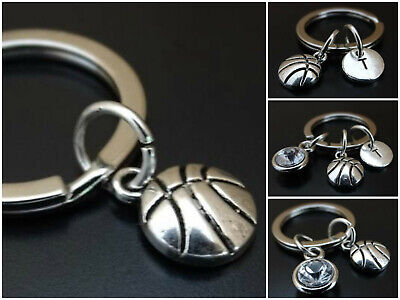 Personalized Basketball Keychains (Basketball Keychain Initial Birthstone Charm Personalized Team Coach Gift)