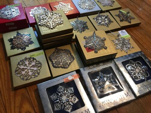1991-2018 Vintage Silver MMA Museum Art Snowflake Star Christmas Ornament w/ Box