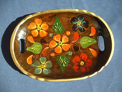 Vtg Tole Tray Wood Hand Painted Handles Brown Gold Rim Floral Bright Colors