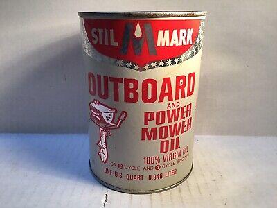 Vintage Stil Mark Outboard Oil Quart Can gas rare tin sign handy Sunoco Sinclair