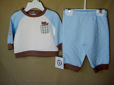 LITTLE ME Long Sleeve FOX TALES Blue Quilted 2 pc Pant Set BOY SIZE 3M NWT