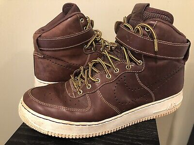 NIKE 882096-600 Air Force One MENS 12 46 Brown Leather Work Boots Shoes AF1 - Mens Force Brown Leather
