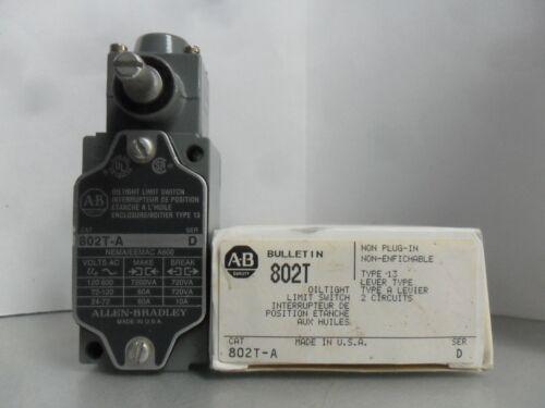 New Allen Bradley 802T-A Oiltight Limit Switch Lever Type Non Plug-In Ser D NIB