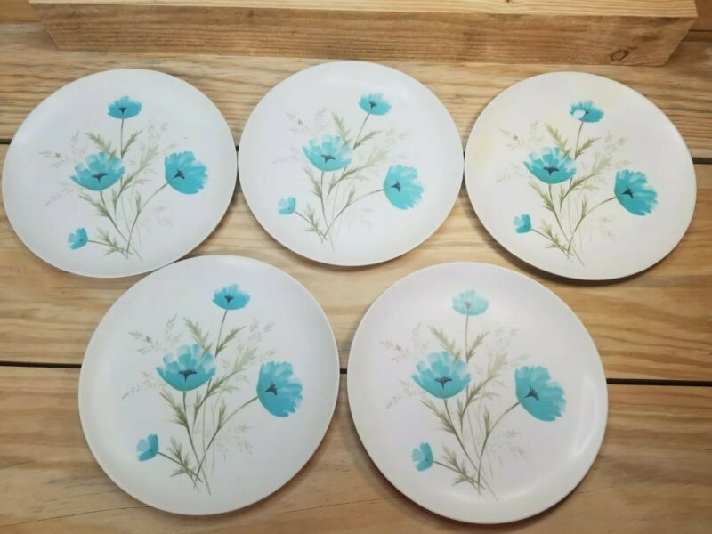 "5 VINTAGE PARK AVENUE MELMAC Blue Flower 10"" DINNER PLATES"