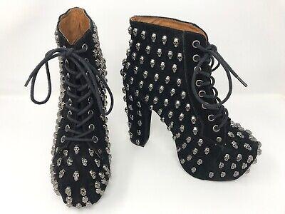 Jeffrey Campbell Black Suede Lita Skull Ankle Boots UK 4 Ladies USED