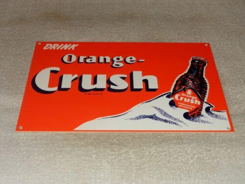 "VINTAGE DRINK ORANGE CRUSH W/ CRUSHY BOTTLE 12"" METAL SODA POP GASOLINE OIL SIGN"