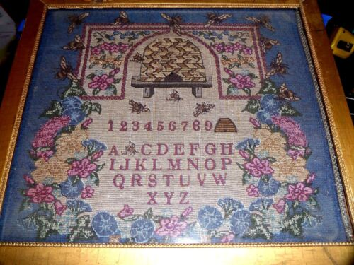 TAPESTRY SAMPLER WITH HONEY BEES & HIVE ALPHABET & NUMBERS VERMONT EARLY MORMON?