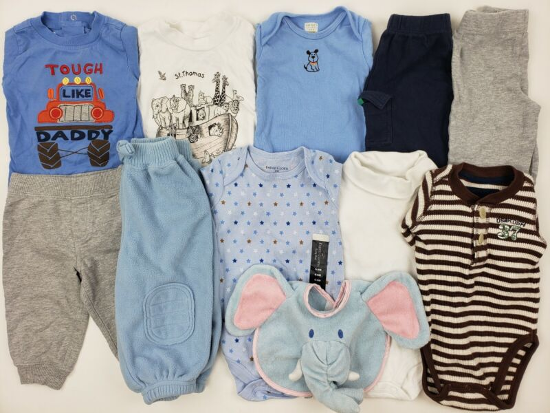 6-9 Months Baby Boys Clothes Lot Carters Oshkosh Etc Romper Outfit Bib Dressy