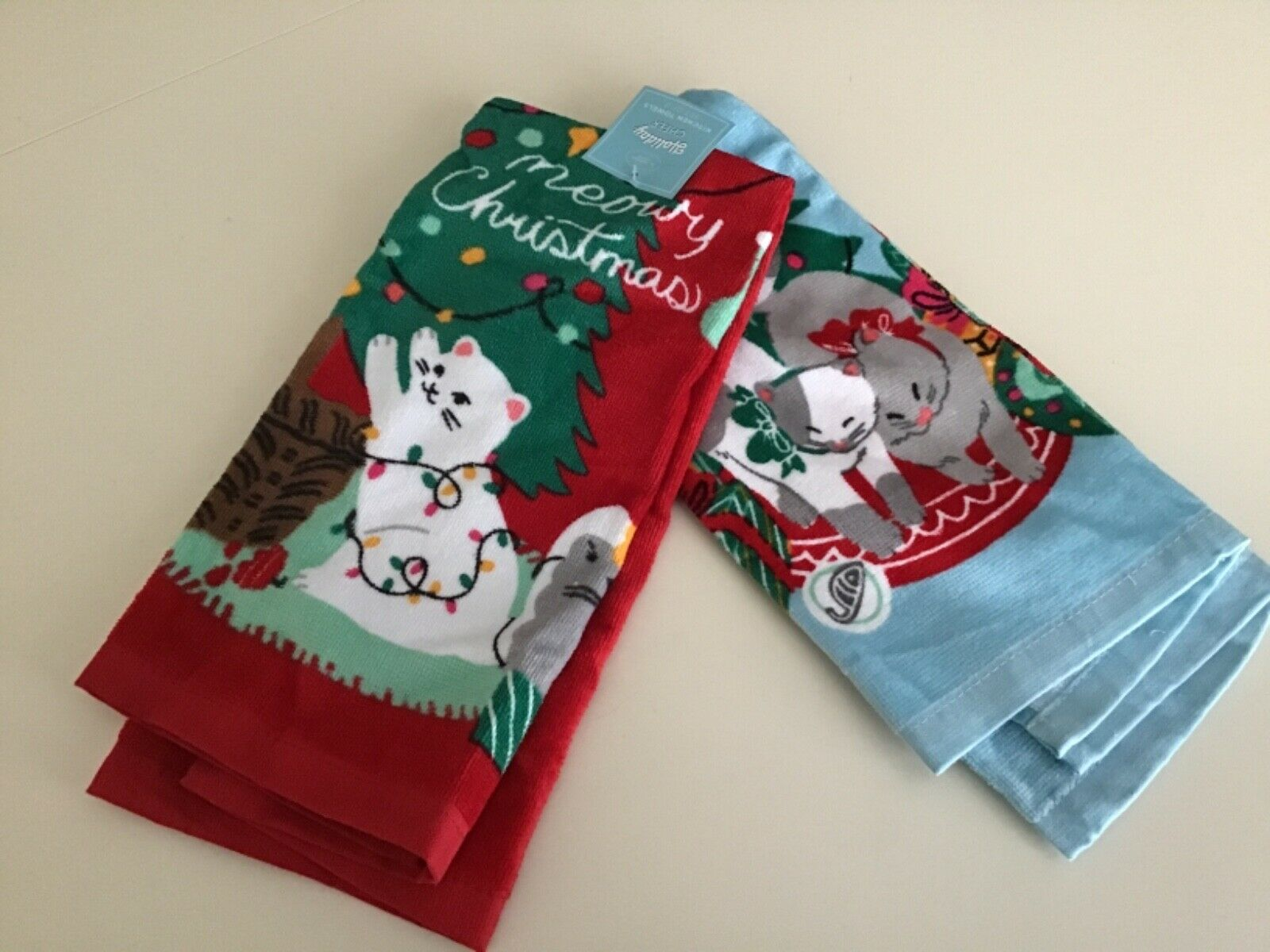 Kohl's Holiday Cheer Meowy Christmas  Kitchen Towels Set o