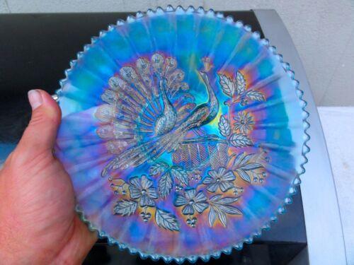 Northwood Ice Blue Peacocks On The Fence Plate - Superb Example #2