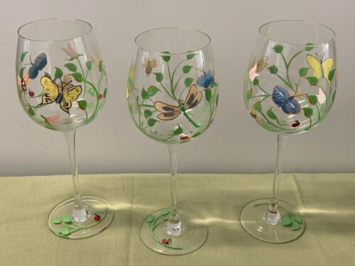 "LENOX CRYSTAL    ""BUTTERFLY MEADOW""   HANDPAINTED GLASS WINE GOBLETS   (3)"